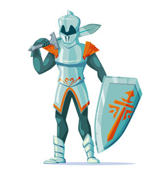 Knight in armor with swords shield stand on white vector