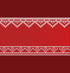 Knitted red pattern background vector