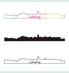 Lansing skyline linear style with rainbow vector image