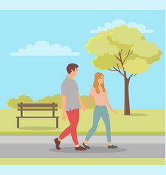 man and woman in love teenagers in park spring vector image