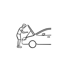 man under the hood of car hand drawn outline vector image