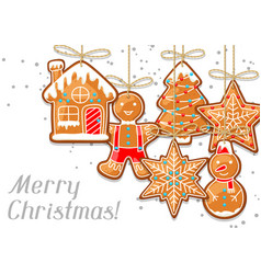 merry christmas greeting card with hanging vector image