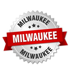 Milwaukee round silver badge with red ribbon vector