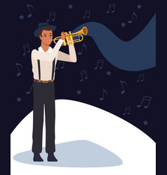 musician artist cartoon vector image