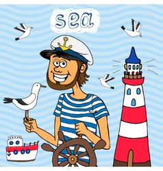 nautical background a captain at wheel vector image