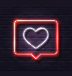 neon white glowing heart in red spech bubble vector image