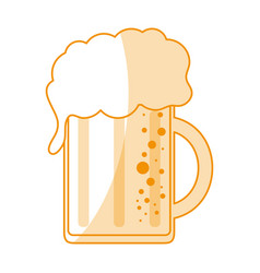 orange silhouette shading cartoon beer jar glass vector image