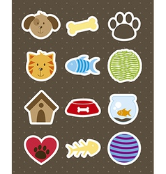 Pets icons over brown background vector