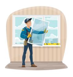 Plastic windows install and repair service vector