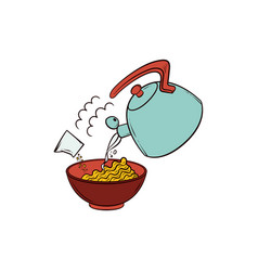 Pouring boiling water into bowl of instant noodle vector