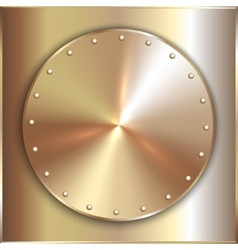 precious metal round golden plate with vector image