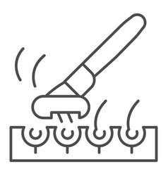 Razor and bristle hair thin line icon face vector