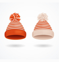 realistic 3d detailed winter hat set vector image