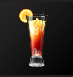 Realistic cocktail tequila sunrise glass vector