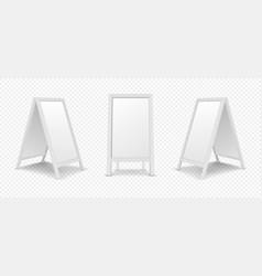 realistic white menu announcement board icon set vector image