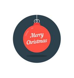 red xmas ball icon like merry christmas vector image