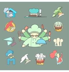Restaurant Chef flat logo or icon Set on dark vector image
