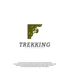 rock climber logo template outdoor activity vector image