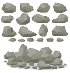 Rock stone cartoon in isometric 3d flat style set vector