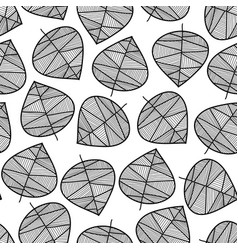 seamless monochrome leaves background vector image