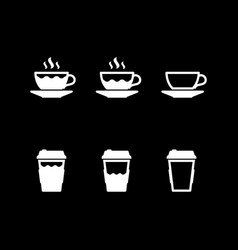 set glyph icons coffee cup vector image