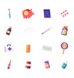 set icons medical cost glass flask piggy bank vector image