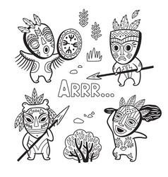 Set of stone age tribe people in masks coloring vector