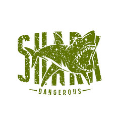 Shark dangerous emblem vector