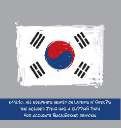 south korean flat flag - artistic brush strokes vector image