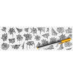 spider web patterns doodle set vector image