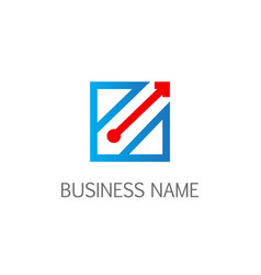 square line arrow business logo vector image