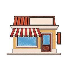 Store shop building scribble vector