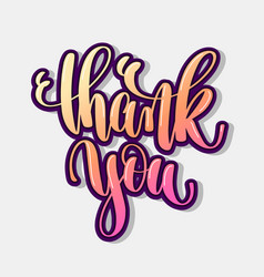 thank you hand lettering positive quote vector image