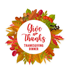 thanksgiving autumn leaves and berries harvest vector image