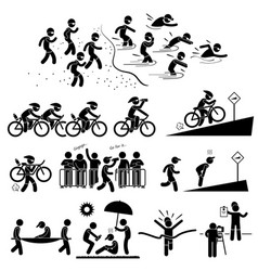 triathlon marathon swimming cycling sports vector image