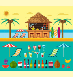 tropical beach with a bar on beach vector image