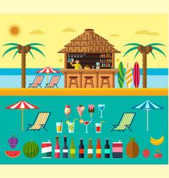 Tropical beach with a bar on the beach vector