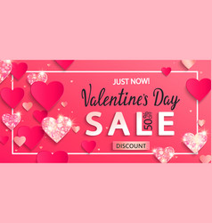 valentines day sale banner with paper hearts vector image