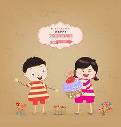 valentines day with my baby and cupcake gift vector image