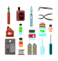 Vaping accessories flat icons set vector