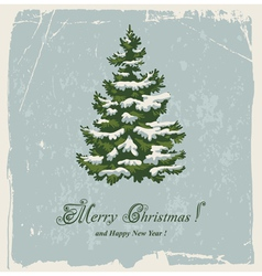 Vintage christmas card with spruce in the snow vector