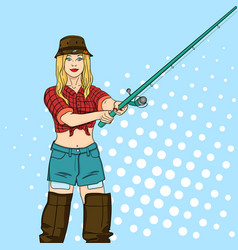 Woman fisher on the river girl fisherman pop art vector
