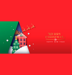 year papercut winter house banner vector image