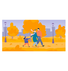 Young family walk national outdoor park cheerful vector