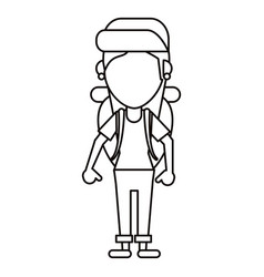 Young girl traveler with backpack thin line vector