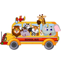 Animal cartoon on a school bus vector