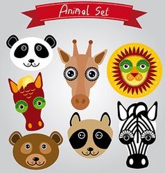 animal set panda giraffe lion horse bear raccoon vector image vector image