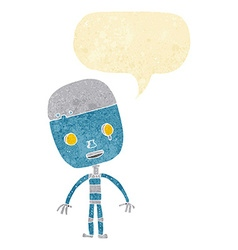 cartoon sad robot with speech bubble vector image