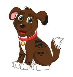 Cartoon smiling dark brown spotty puppy vector image vector image