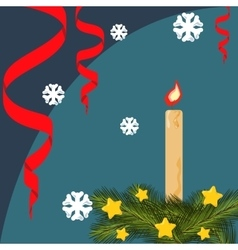 Christmas card with fir branches stars vector image